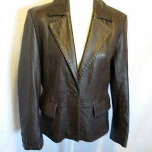 Couture By J.Park Brown Leather Jacket Size M